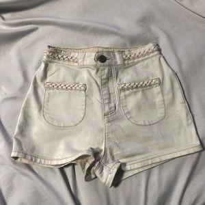 BDG White Denim High Waisted Shorts